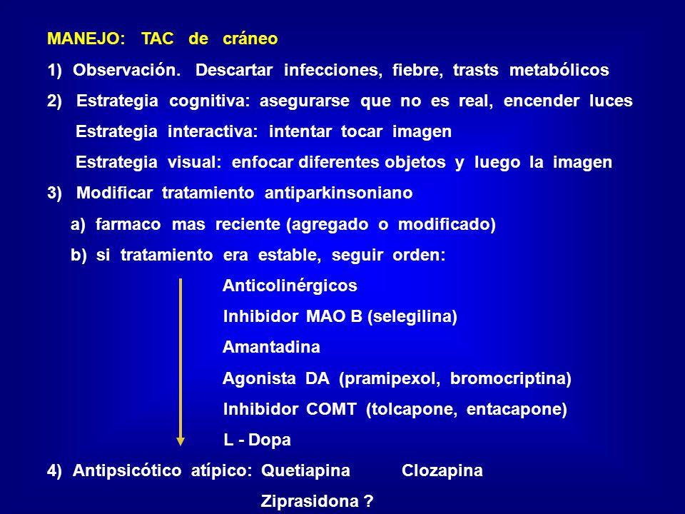 MANEJO: TAC de cráneo 1)Observación. Descartar infecciones, fiebre, trasts metabólicos 2) Estrategia cognitiva: asegurarse que no es real, encender lu
