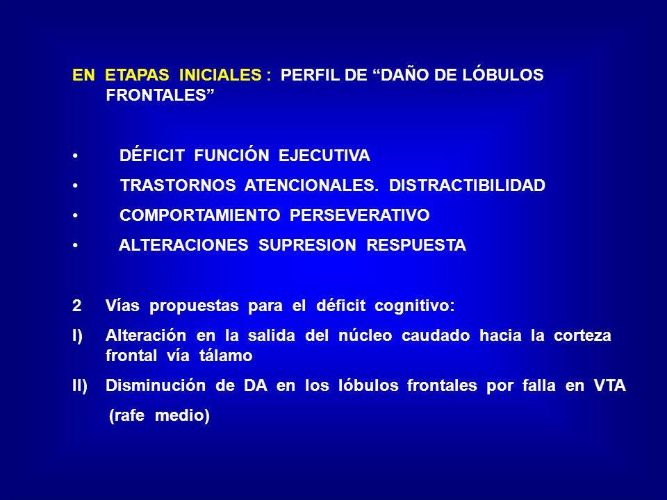 EN ETAPAS INICIALES : PERFIL DE DAÑO DE LÓBULOS FRONTALES DÉFICIT FUNCIÓN EJECUTIVA TRASTORNOS ATENCIONALES. DISTRACTIBILIDAD COMPORTAMIENTO PERSEVERA