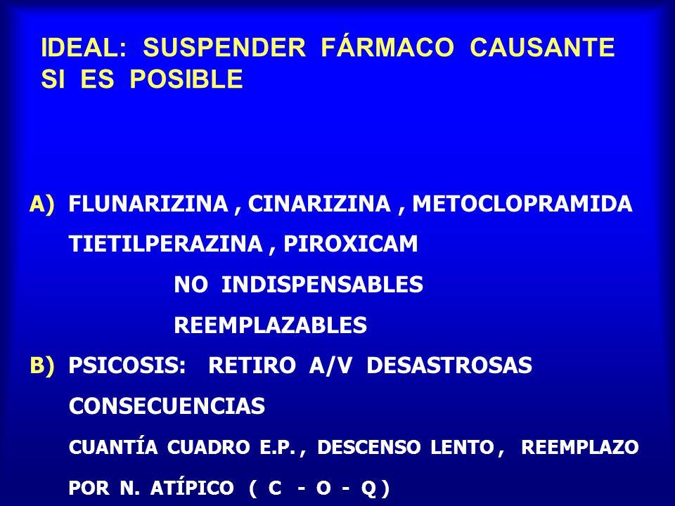 IDEAL: SUSPENDER FÁRMACO CAUSANTE SI ES POSIBLE A) FLUNARIZINA, CINARIZINA, METOCLOPRAMIDA TIETILPERAZINA, PIROXICAM NO INDISPENSABLES REEMPLAZABLES B