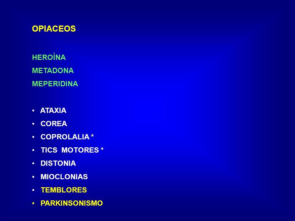 OPIACEOS HEROÍNA METADONA MEPERIDINA ATAXIA COREA COPROLALIA * TICS MOTORES * DISTONIA MIOCLONIAS TEMBLORES PARKINSONISMO