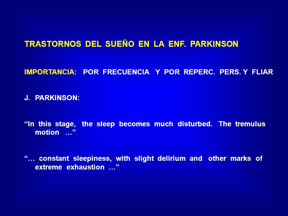 TRASTORNOS DEL SUEÑO EN LA ENF. PARKINSON IMPORTANCIA: POR FRECUENCIA Y POR REPERC. PERS. Y FLIAR J.PARKINSON: In this stage, the sleep becomes much d