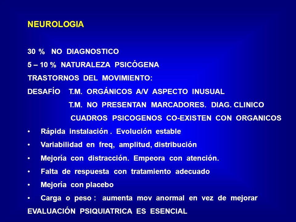 NEUROLOGIA 30% NO DIAGNOSTICO 5 – 10 % NATURALEZA PSICÓGENA TRASTORNOS DEL MOVIMIENTO: DESAFÍO T.M. ORGÁNICOS A/V ASPECTO INUSUAL T.M. NO PRESENTAN MA