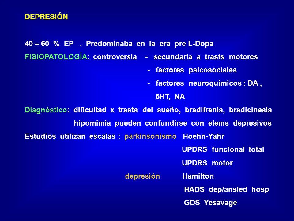 DEPRESIÓN 40 – 60 % EP. Predominaba en la era pre L-Dopa FISIOPATOLOGÍA: controversia - secundaria a trasts motores - factores psicosociales - factore
