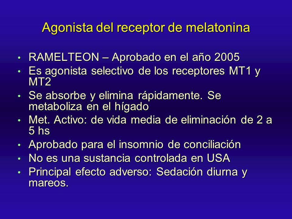 Agonista del receptor de melatonina RAMELTEON – Aprobado en el año 2005 RAMELTEON – Aprobado en el año 2005 Es agonista selectivo de los receptores MT