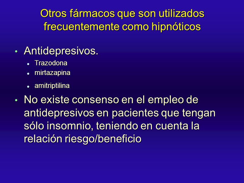 Otros fármacos que son utilizados frecuentemente como hipnóticos Antidepresivos. Antidepresivos. Trazodona Trazodona mirtazapina mirtazapina amitripti