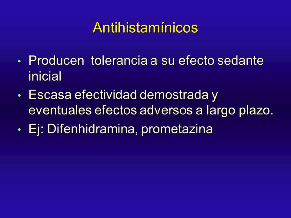 Antihistamínicos Producen tolerancia a su efecto sedante inicial Producen tolerancia a su efecto sedante inicial Escasa efectividad demostrada y event