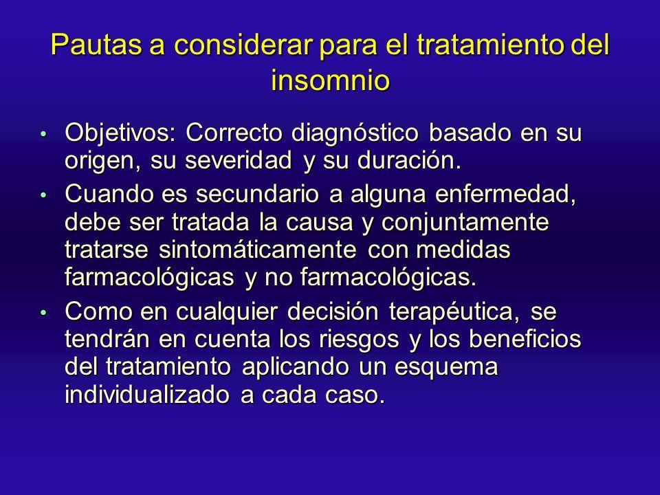 Pautas a considerar para el tratamiento del insomnio Objetivos: Correcto diagnóstico basado en su origen, su severidad y su duración. Objetivos: Corre