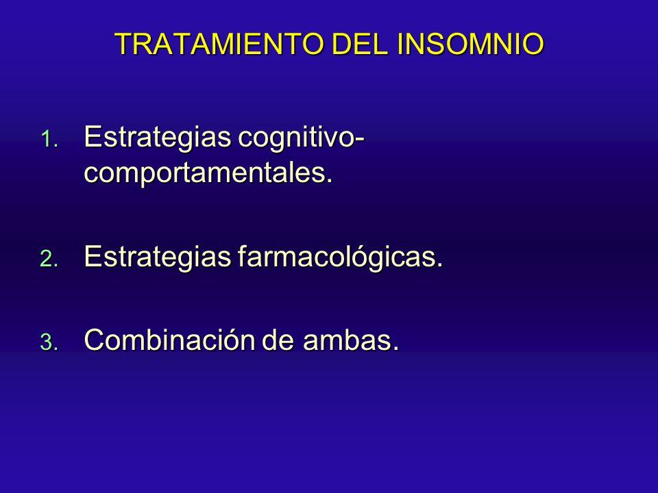TRATAMIENTO DEL INSOMNIO 1. Estrategias cognitivo- comportamentales. 2. Estrategias farmacológicas. 3. Combinación de ambas.