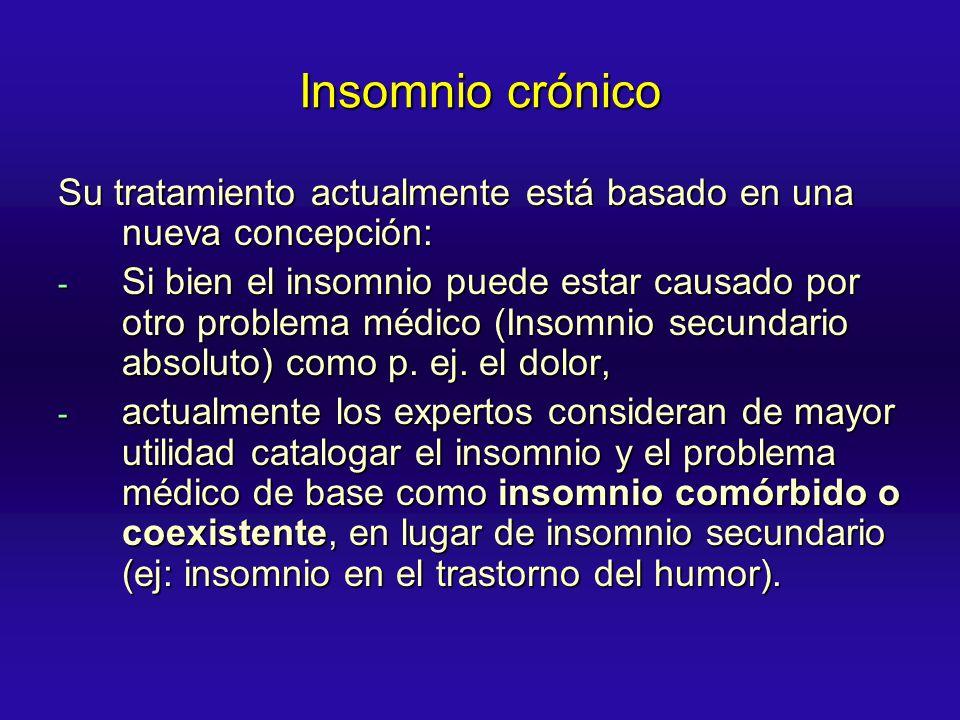 Insomnio crónico Su tratamiento actualmente está basado en una nueva concepción: - Si bien el insomnio puede estar causado por otro problema médico (I