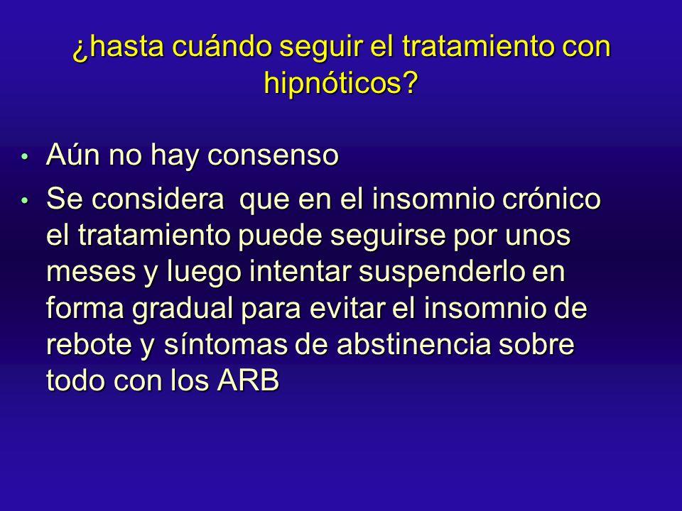 ¿hasta cuándo seguir el tratamiento con hipnóticos? Aún no hay consenso Aún no hay consenso Se considera que en el insomnio crónico el tratamiento pue
