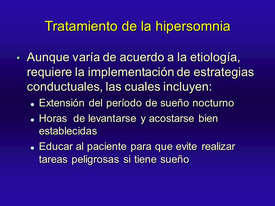 Tratamiento de la hipersomnia Aunque varía de acuerdo a la etiología, requiere la implementación de estrategias conductuales, las cuales incluyen: Aun