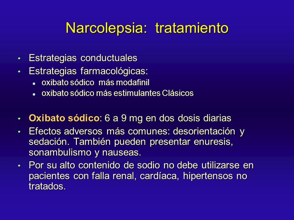 Narcolepsia: tratamiento Estrategias conductuales Estrategias conductuales Estrategias farmacológicas: Estrategias farmacológicas: oxibato sódico más