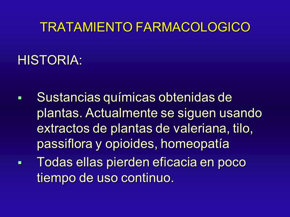 TRATAMIENTO FARMACOLOGICO HISTORIA: Sustancias químicas obtenidas de plantas. Actualmente se siguen usando extractos de plantas de valeriana, tilo, pa
