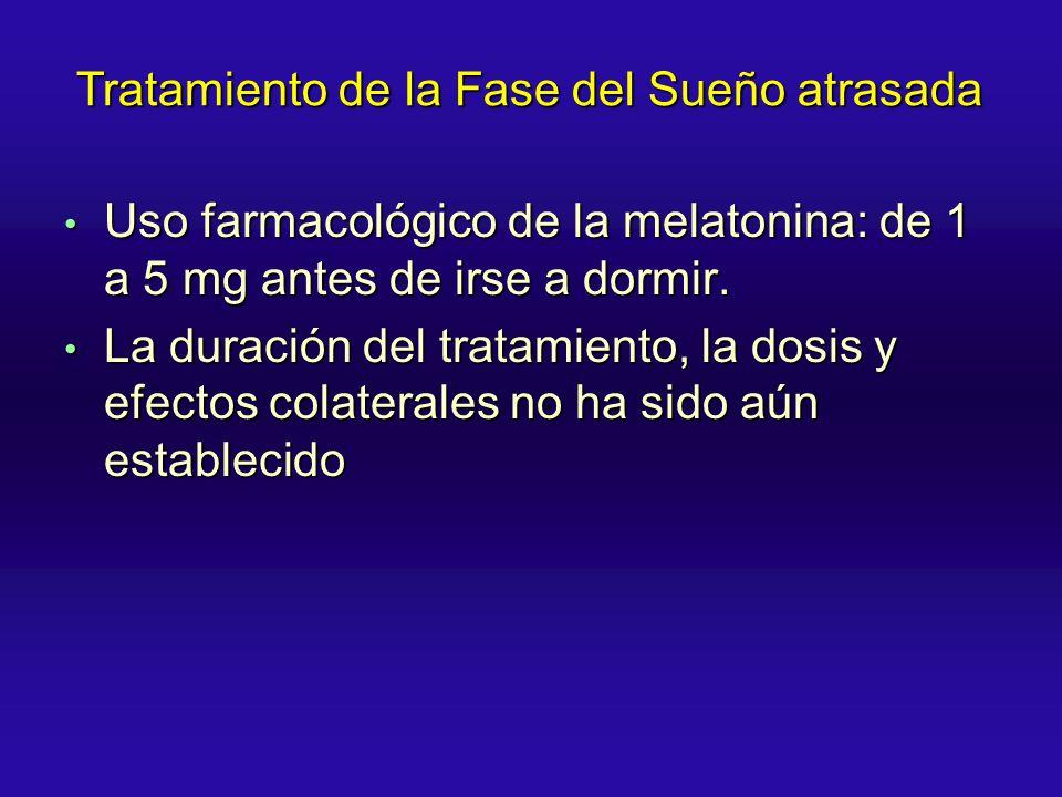 Uso farmacológico de la melatonina: de 1 a 5 mg antes de irse a dormir. Uso farmacológico de la melatonina: de 1 a 5 mg antes de irse a dormir. La dur