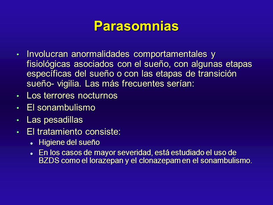 Parasomnias Involucran anormalidades comportamentales y fisiológicas asociados con el sueño, con algunas etapas específicas del sueño o con las etapas