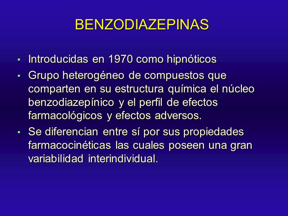 BENZODIAZEPINAS Introducidas en 1970 como hipnóticos Introducidas en 1970 como hipnóticos Grupo heterogéneo de compuestos que comparten en su estructu