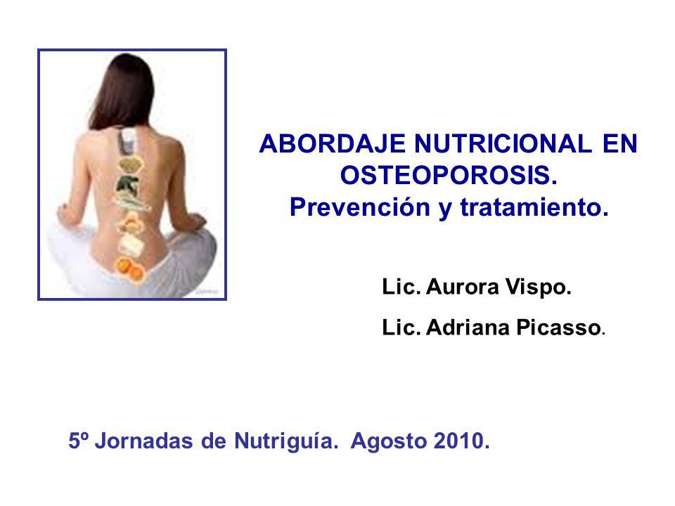 ABORDAJE NUTRICIONAL EN OSTEOPOROSIS. Prevención y tratamiento. 5º Jornadas de Nutriguía. Agosto 2010. Lic. Aurora Vispo. Lic. Adriana Picasso.