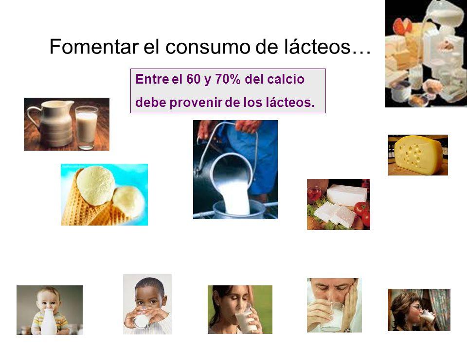 Fomentar el consumo de lácteos… Entre el 60 y 70% del calcio debe provenir de los lácteos.