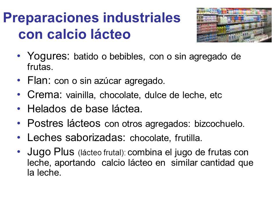 Preparaciones industriales con calcio lácteo Yogures: batido o bebibles, con o sin agregado de frutas. Flan: con o sin azúcar agregado. Crema: vainill