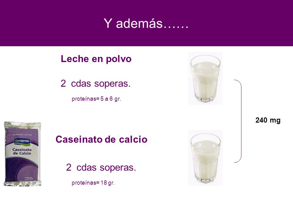 Y además…… Leche en polvo 2 cdas soperas. proteínas= 5 a 6 gr. Caseinato de calcio 2 cdas soperas. proteínas= 18 gr. 240 mg