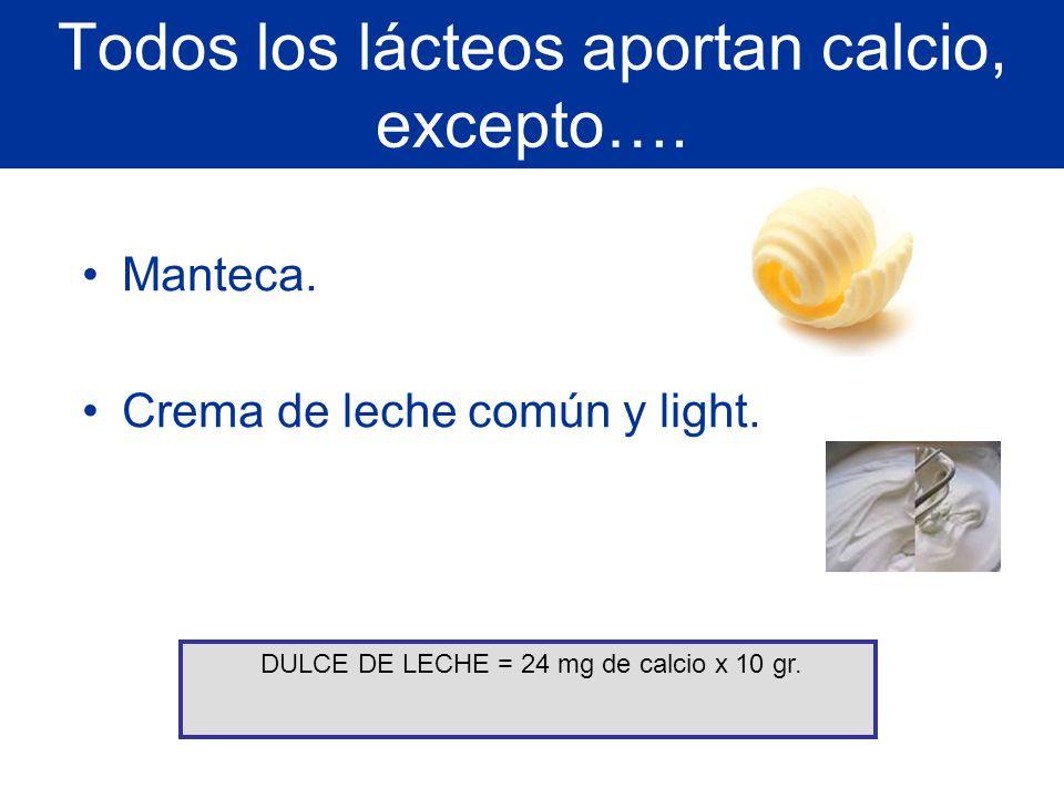 Todos los lácteos aportan calcio, excepto…. Manteca. Crema de leche común y light. DULCE DE LECHE = 24 mg de calcio x 10 gr.