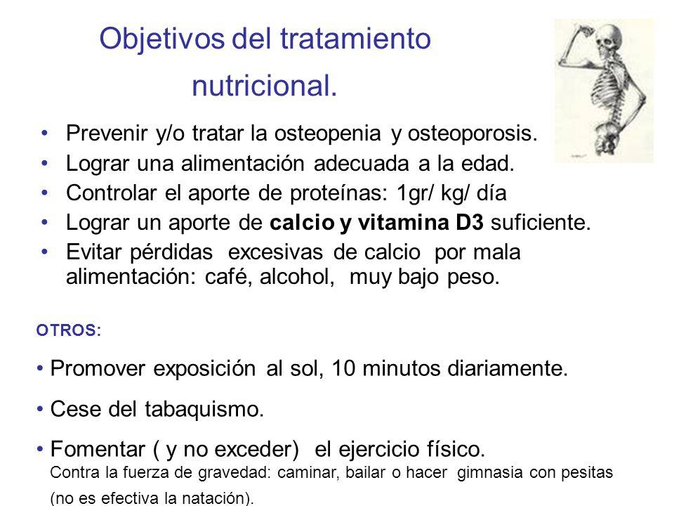 Objetivos del tratamiento nutricional. Prevenir y/o tratar la osteopenia y osteoporosis. Lograr una alimentación adecuada a la edad. Controlar el apor