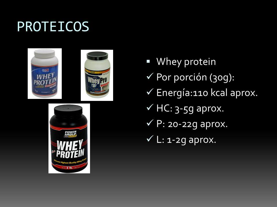 PROTEICOS Whey protein Por porción (30g): Energía:110 kcal aprox. HC: 3-5g aprox. P: 20-22g aprox. L: 1-2g aprox.