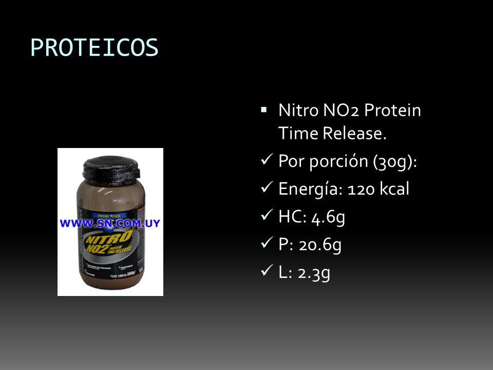 PROTEICOS Nitro NO2 Protein Time Release. Por porción (30g): Energía: 120 kcal HC: 4.6g P: 20.6g L: 2.3g