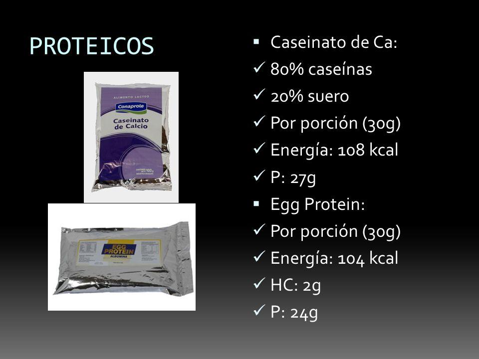 PROTEICOS Caseinato de Ca: 80% caseínas 20% suero Por porción (30g) Energía: 108 kcal P: 27g Egg Protein: Por porción (30g) Energía: 104 kcal HC: 2g P