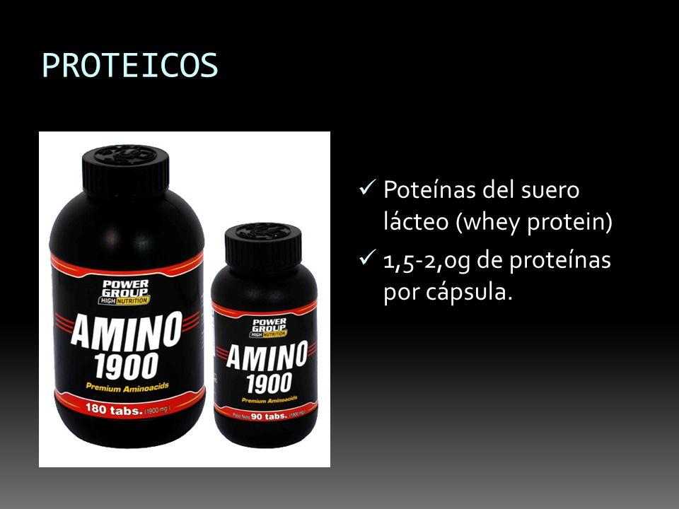 PROTEICOS Poteínas del suero lácteo (whey protein) 1,5-2,0g de proteínas por cápsula.