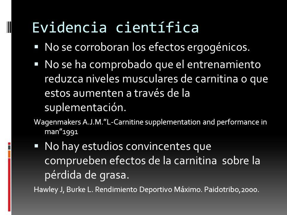 Evidencia científica No se corroboran los efectos ergogénicos. No se ha comprobado que el entrenamiento reduzca niveles musculares de carnitina o que