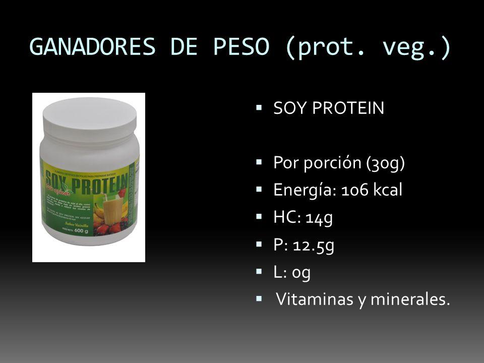 GANADORES DE PESO (prot. veg.) SOY PROTEIN Por porción (30g) Energía: 106 kcal HC: 14g P: 12.5g L: 0g Vitaminas y minerales.