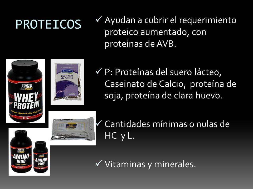 PROTEICOS Ayudan a cubrir el requerimiento proteico aumentado, con proteínas de AVB. P: Proteínas del suero lácteo, Caseinato de Calcio, proteína de s