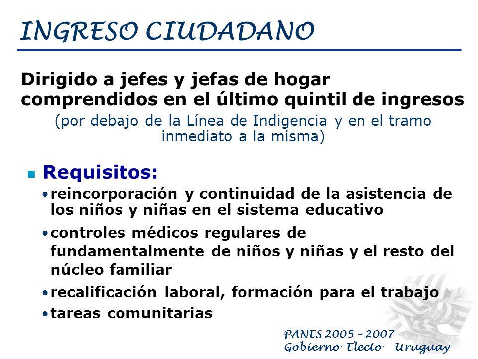 PANES 2005 – 2007 Gobierno Electo Uruguay Programa de Ingreso Ciudadano Programa de Atención Primaria en Salud Programa de Trabajo Transitorio Programa de Educación en Contextos Críticos Programa de Atención a Personas sin Techo Programa para Asentamientos Irregulares, Tugurios y Pensiones Programa de Alimentación Nacional