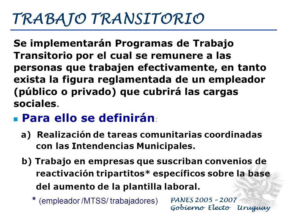 PANES 2005 – 2007 Gobierno Electo Uruguay ATENCIÓN PRIMARIA EN SALUD Prevención y atención primaria en salud en las redes de policlínicas del MSP, mun