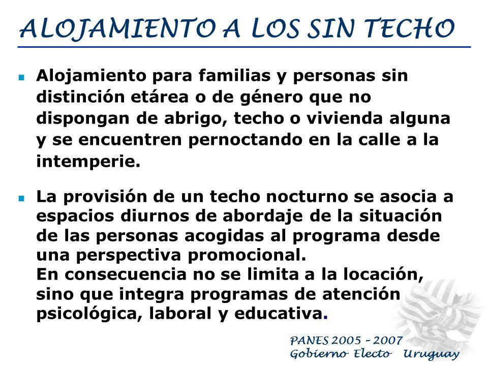 PANES 2005 – 2007 Gobierno Electo Uruguay EDUCACIÓN EN CONTEXTOS SOCIALES CRÍTICOS Ampliar la cobertura alimentaría en escuelas, incorporar una merienda estudiantil en liceos y UTUS Programas de retención y reingreso liceal Cobertura para Educación Inicial