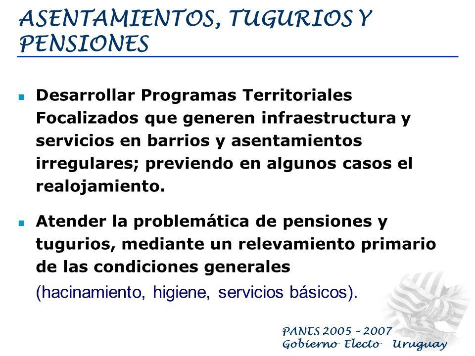 PANES 2005 – 2007 Gobierno Electo Uruguay ALOJAMIENTO A LOS SIN TECHO Alojamiento para familias y personas sin distinción etárea o de género que no dispongan de abrigo, techo o vivienda alguna y se encuentren pernoctando en la calle a la intemperie.