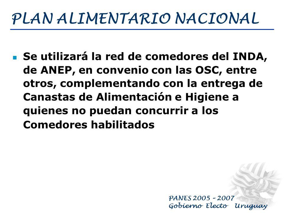 PANES 2005 – 2007 Gobierno Electo Uruguay PLAN ALIMENTARIO NACIONAL Se revisará la composición cuanti – cualitativa de la Canasta Básica de Alimentaci