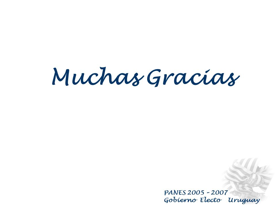 PANES 2005 – 2007 Gobierno Electo Uruguay PLAN ALIMENTARIO NACIONAL Se utilizará la red de comedores del INDA, de ANEP, en convenio con las OSC, entre otros, complementando con la entrega de Canastas de Alimentación e Higiene a quienes no puedan concurrir a los Comedores habilitados