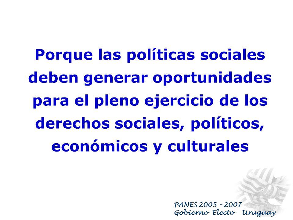 PANES 2005 – 2007 Gobierno Electo Uruguay OBJETIVOS : Garantizar la cobertura de las NB de los sectores sociales más vulnerables y frenar el riesgo de
