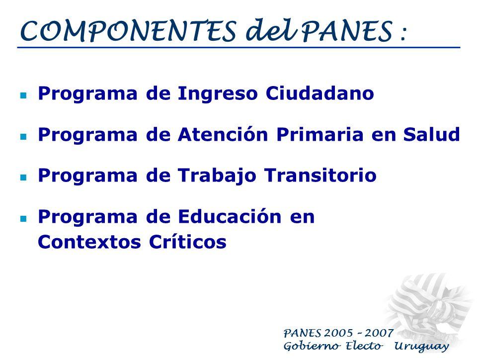 PANES 2005 – 2007 Gobierno Electo Uruguay POBLACIÓN OBJETIVO : Todas las personas por debajo de la Línea de Indigencia y pobreza extrema niños, niñas