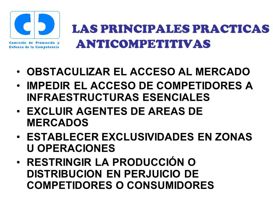 LAS PRINCIPALES PRACTICAS ANTICOMPETITIVAS OBSTACULIZAR EL ACCESO AL MERCADO IMPEDIR EL ACCESO DE COMPETIDORES A INFRAESTRUCTURAS ESENCIALES EXCLUIR A