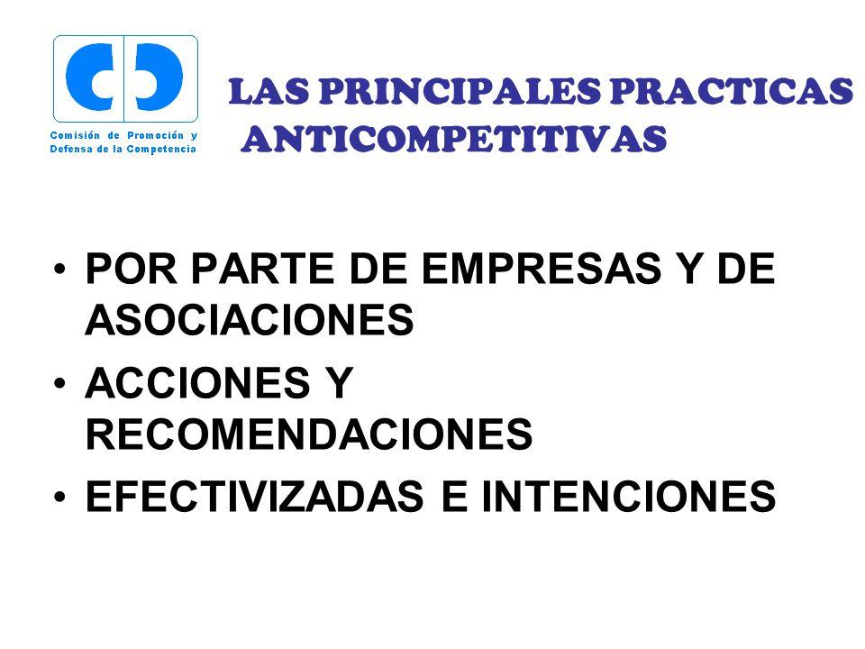 LAS PRINCIPALES PRACTICAS ANTICOMPETITIVAS POR PARTE DE EMPRESAS Y DE ASOCIACIONES ACCIONES Y RECOMENDACIONES EFECTIVIZADAS E INTENCIONES
