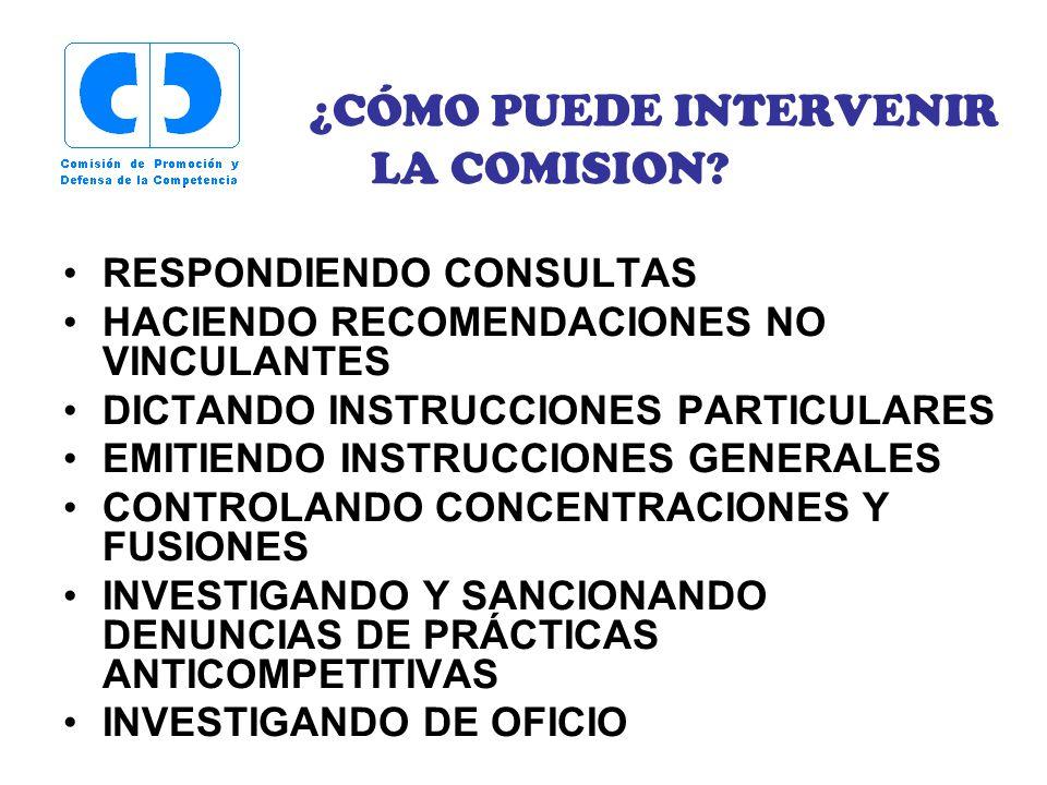 ¿CÓMO PUEDE INTERVENIR LA COMISION? RESPONDIENDO CONSULTAS HACIENDO RECOMENDACIONES NO VINCULANTES DICTANDO INSTRUCCIONES PARTICULARES EMITIENDO INSTR