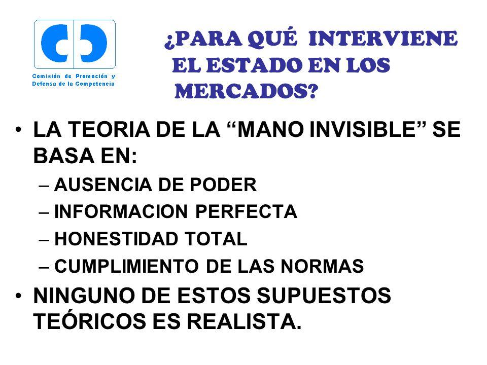 ¿PARA QUÉ INTERVIENE EL ESTADO EN LOS MERCADOS.