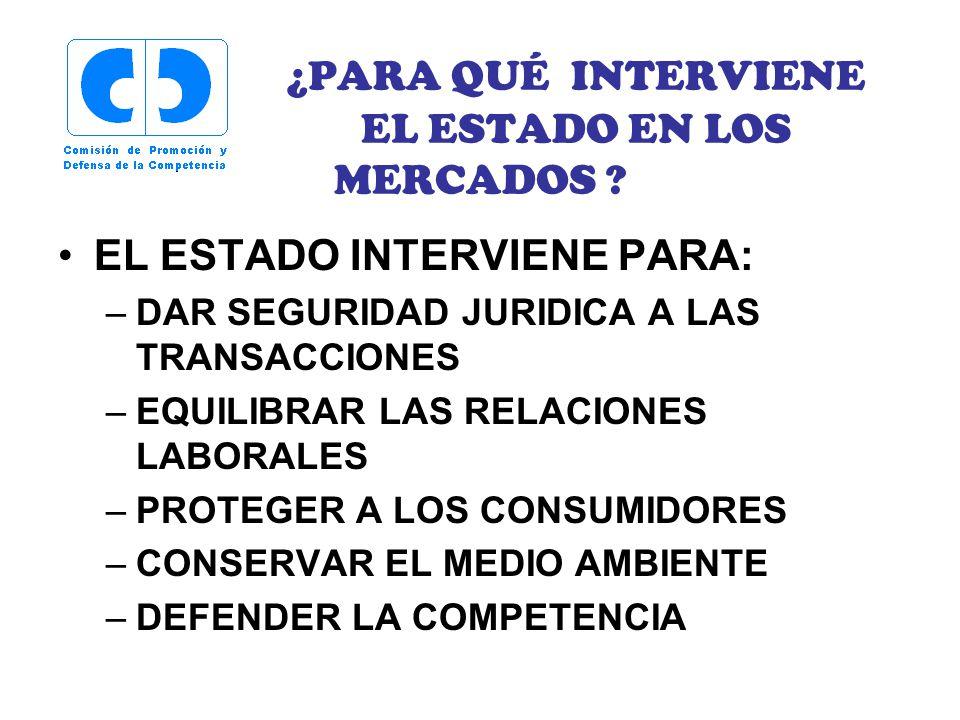 ¿PARA QUÉ INTERVIENE EL ESTADO EN LOS MERCADOS ? EL ESTADO INTERVIENE PARA: –DAR SEGURIDAD JURIDICA A LAS TRANSACCIONES –EQUILIBRAR LAS RELACIONES LAB