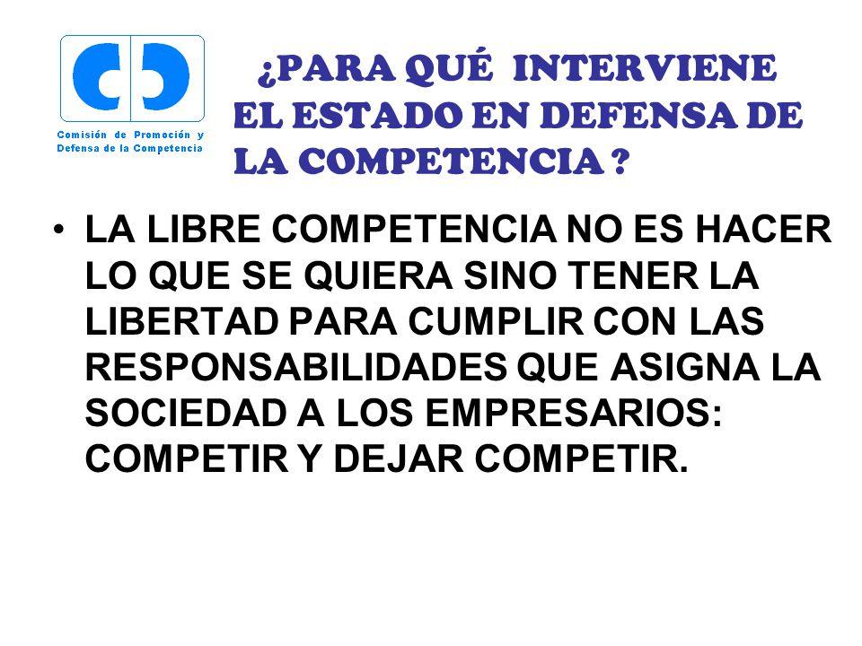 ¿PARA QUÉ INTERVIENE EL ESTADO EN DEFENSA DE LA COMPETENCIA.