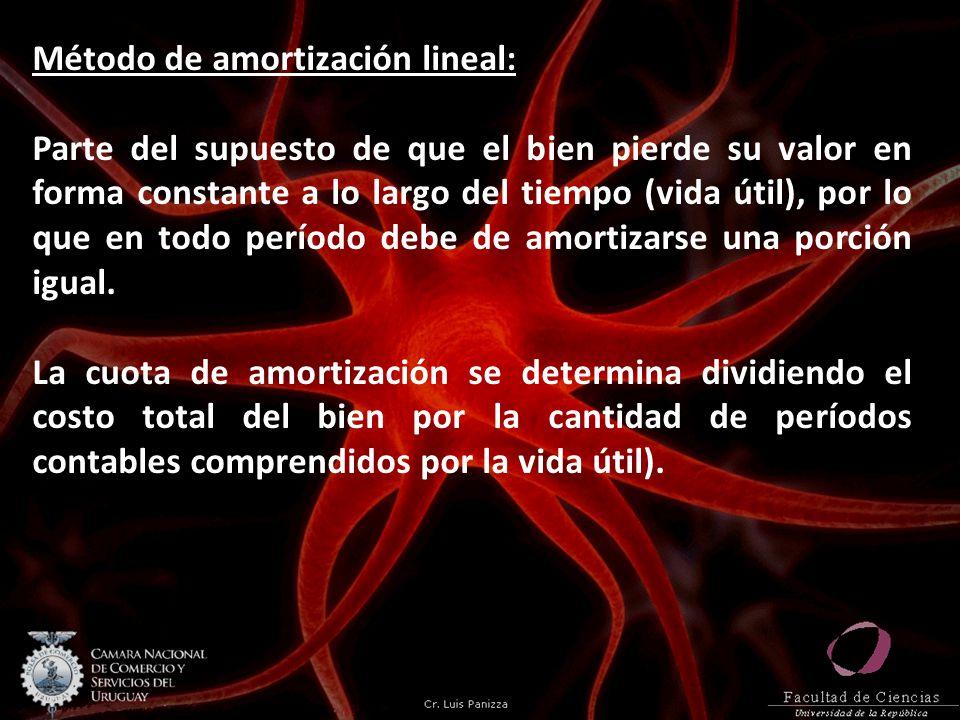Método de amortización lineal: Parte del supuesto de que el bien pierde su valor en forma constante a lo largo del tiempo (vida útil), por lo que en todo período debe de amortizarse una porción igual.