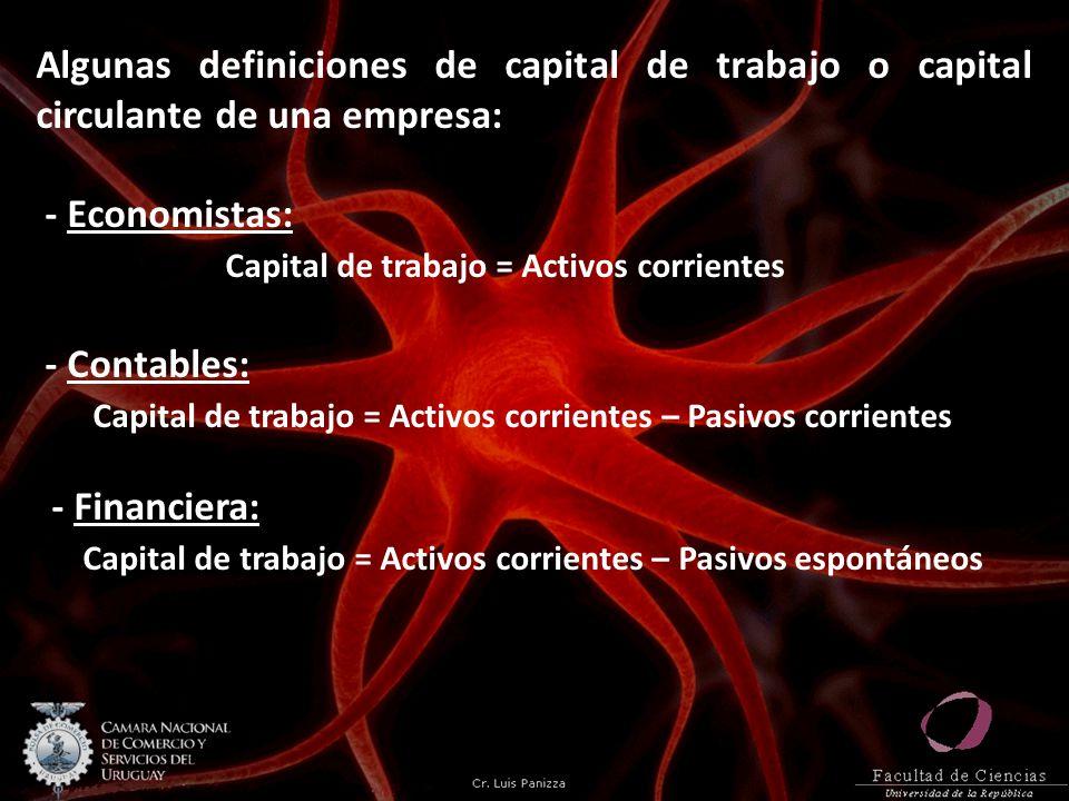 Algunas definiciones de capital de trabajo o capital circulante de una empresa: - Economistas: Capital de trabajo = Activos corrientes - Contables: Capital de trabajo = Activos corrientes – Pasivos corrientes - Financiera: Capital de trabajo = Activos corrientes – Pasivos espontáneos