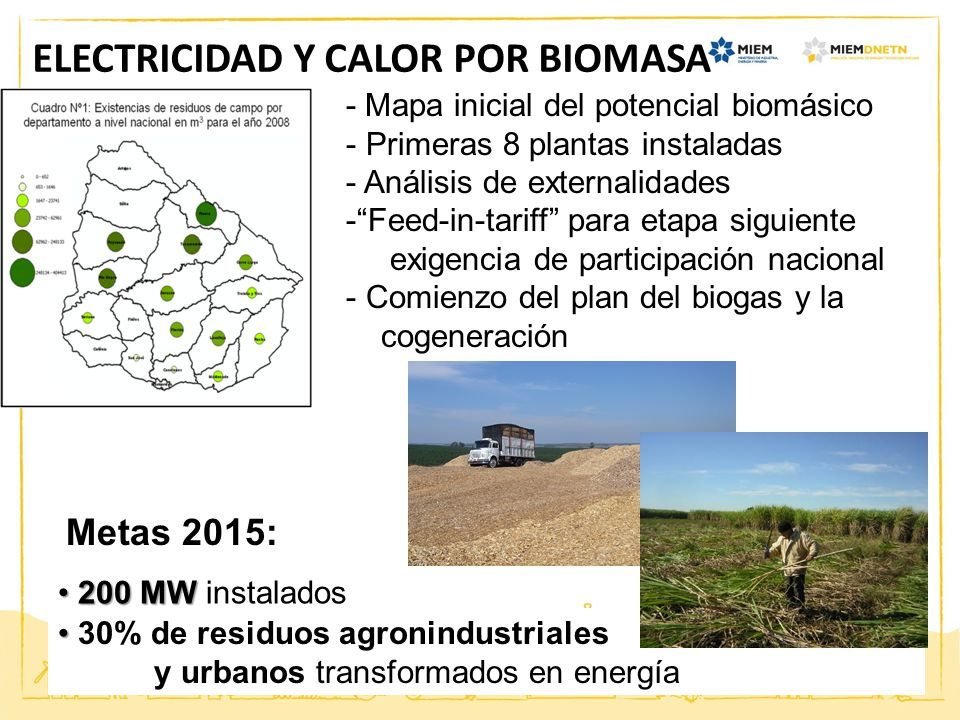 ELECTRICIDAD Y CALOR POR BIOMASA 200 MW 200 MW instalados - Mapa inicial del potencial biomásico - Primeras 8 plantas instaladas - Análisis de externa